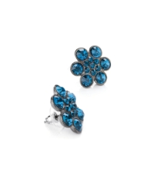 Blue Glass Stone Round Earrings