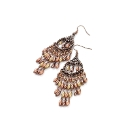 Copper Coloured Beaded Drop Earrings