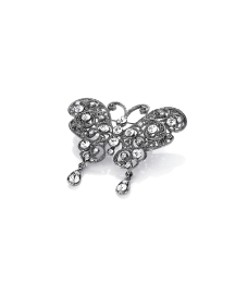 Clear Glass Stone Set Butterfly Brooch