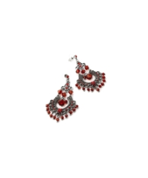 Burnished Silver Red Tone Drop Earrings