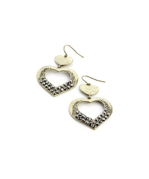 Gold Coloured Heart Shaped Earrings