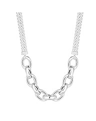 Simply Silver Oval Link Mesh Necklace