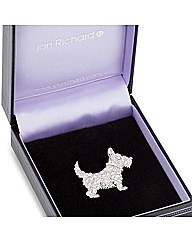 Jon Richard Crystal Scotty Dog Brooch