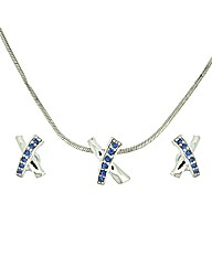 Blue Crystal Cross Pendant Set