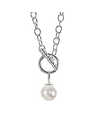 Simply Silver Pearl Charm T Bar Necklace