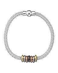 Simply Silver Tri Colour Mesh Bracelet