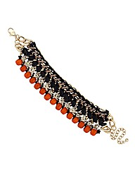 Mood Jet And Orange Bead Wrap Bracelet