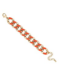 Mood Orange Enamel Chunky Chain Bracelet