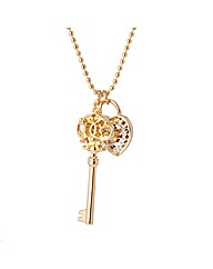 Gold Plated Key Lock Pendant
