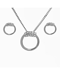 Crystal Ring Pendant and Earring Set
