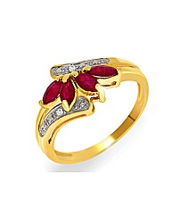 9ct Ruby and Diamond Ring