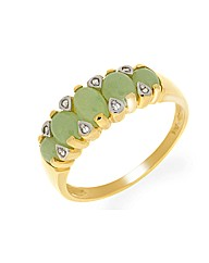 9ct Jade and Diamond Ring