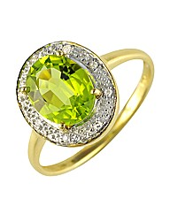 9ct Peridot and Diamond Ring