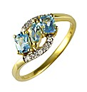 9ct Blue Topaz and Diamond Ring