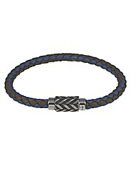 Silver Blue/Brown Leather Bracelet