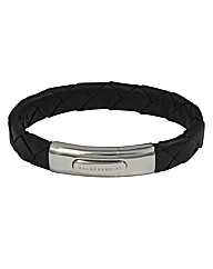 Sterling Silver Black Leather Bracelet