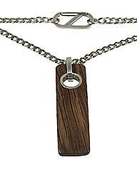 Sterling Silver and Wood Necklace