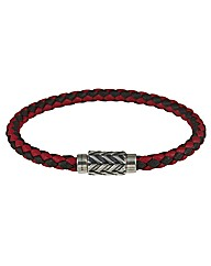 Silver Red/Black Leather Bracelet