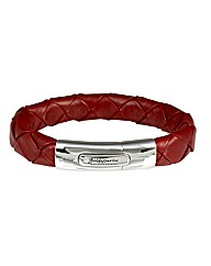 Sterling Silver Red Leather Bracelet