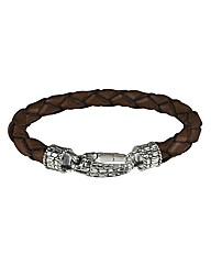 Sterling Silver Brown Leather Bracelet