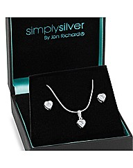 Simply Silver Mini Heart Jewellery Set