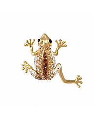 Gold Plated Crystal Set Frog Brooch