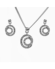 Crystal Swirl Pendant and Earring Set