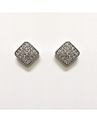 Rhodium Plated Square Crystal Studs