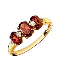 9ct Gold Diamond and Red Garnet Ring