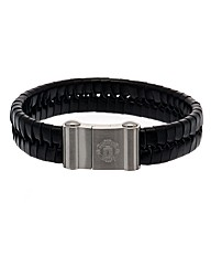 Man United S/Steel Leather Bracelet