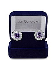 Jon Richard Purple Square Stud Earring