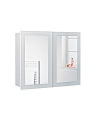 Mirrored 2 Door Bathroom Cabinet  White