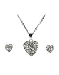 Ladies Heart necklace and Earings