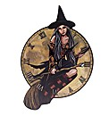 Witch on Broomstick Picture Clock