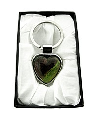 Purple and Green Murano Heart Keyring