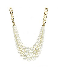 Mood Triple Row Pearl Chain Necklace