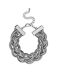 Mood Silver Plait Snake Chain Bracelet