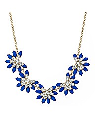 Mood Statement Blue Flower Drop Necklace