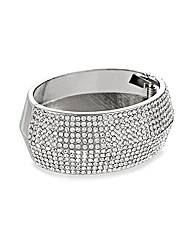Mood Silver Crystal Hinged Bangle