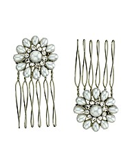 Mood Set Of Two Pearl Flower Mini Combs