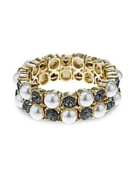 Mood Pearl And Crystal Stretch Bracelet
