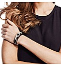 Mood Black Faux Leather Bracelet