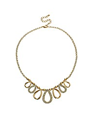 Mood Gold And Crystal Oval Drop Necklace