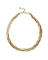 Mood Triple Tone Plaited Snake Necklace