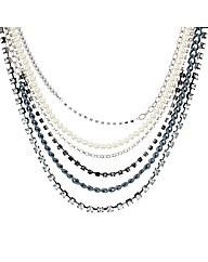 Mood Pearl And Chain Multirow Necklace