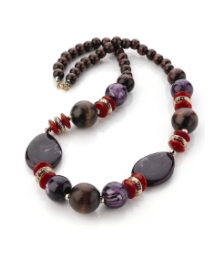Purple Wood Tone Bead Necklace