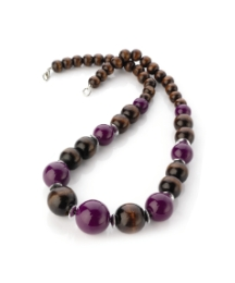 Wood Purple Bead Necklace