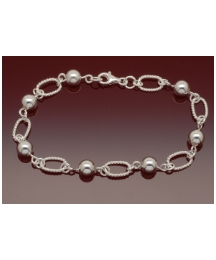 Sterling Silver Link and Ball Bracelet