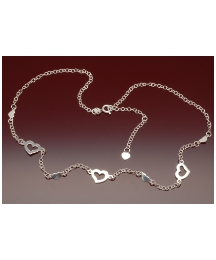 Sterling Silver Multi Heart Adj Necklace