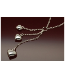 Sterling Silver 3 Hearts Drop Necklace